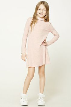 Forever 21 Girls - A heathered knit shift dress featuring a round neckline and short sleeves. Girls Sports Clothes, Kids Outfits Girls, Cute Outfits For Kids, Girls Dresses, Forever 21 Outfits, Forever 21 Girls, Outfits Niños, Fashion Outfits, School Dresses
