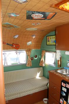 vintage travel trailer interiors | Vintage Travel Trailer Interiors | Photo of 1960 vintage Aloha 15ft ...look what they used on the ceiling!