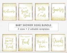 Baby Shower Signs Kit, Printable Set, Editable PDF Template, Gold Confetti, Digital Print, Instant Download Lds Baptism Program, Baby Shower Signs, Gold Confetti, Baby Games, Girl Shower, Line Design, Shower Games, Baby Shower Decorations, Digital Prints