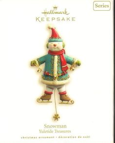 Hallmark Keepsake Ornament Snowman Yuletide Treasures  Brand: Hallmark Gold Crown Exclusive Product Type: Keepsake Holiday Ornament Year issued: 2008 UPC: 795902019099 Item no: QX7124 Features: Handcrafted size: 5.25 inch Artist: Nina Aube and Edythe Kegrize Holiday: Christmas