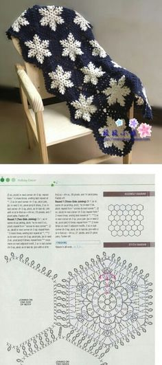 summer crochet top with ripple-leaf motif! Crochet Throw Pattern, Crochet Stitches Chart, Crochet Square Blanket, Graph Crochet, Crochet Squares, Crochet Motif, Crochet Designs, Knit Crochet, Knitting Patterns
