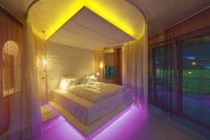 Romantic suite with canopy bed Das Hotel, Canopy, Romantic, Bed, Austria, Furniture, Home Decor, Open Fireplace, Soft Light