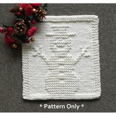 SNOWMAN knit dishcloth pattern by Aunt Susan's Closet.