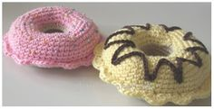 Free crochet pattern and tutorial, doughnuts. Swedish.