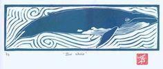 Linoleum print of blue whale.
