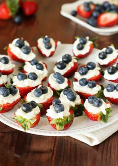 We're gearing up for the Fourth with all things red, white and blue! | Strawberry Cheesecake Bites via The Kitchen Is My Playground