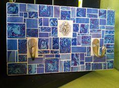 Blue Two Hook Mosaic wirh Octopus by velvetbearmosaics on Etsy