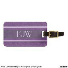 Plum Lavender Stripes Monogram Tag For Luggage