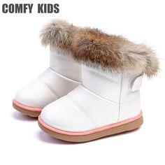 de58d6e92e0ca CONFORTABLE ENFANTS D hiver Mode enfant filles bottes de neige chaussures  chaudes en peluche fond mou bébé filles bottes en cuir d hiver botte de  neige pour ...