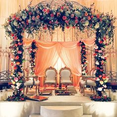 24 Gorgeous Wedding Stage Decoration Ideas & Themes That Will Leave You Speechless! 24 Gorgeous Wedding Stage Decoration Ideas & Themes That Will Leave You Speechless!This Wedding Season Let's Create Magic With Dazzling Wedding Ceremony Ideas, Indian Wedding Receptions, Wedding Hall Decorations, Wedding Mandap, Wedding Centerpieces, Ceremony Programs, Wedding Themes, Wedding Dresses, Indian Wedding Stage
