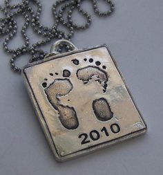 Your Childs or Babys Actual Foot Footprints or Handprints Made Into Silver Jewelry -Made to Order Love via Etsy