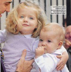Infanta Leonor with baby sister Infanta Sofia