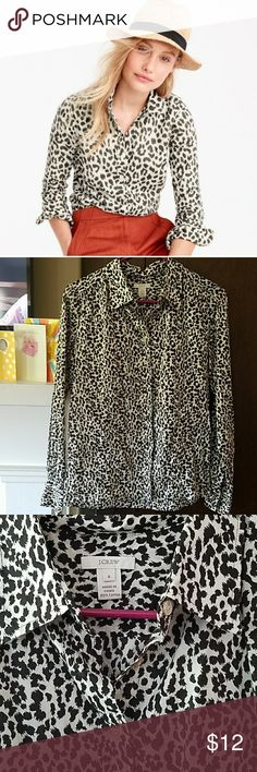 "J. Crew cotton animal print shirt Size 6, bust is 17"", length is 25"". Great condition J. Crew Tops Blouses"