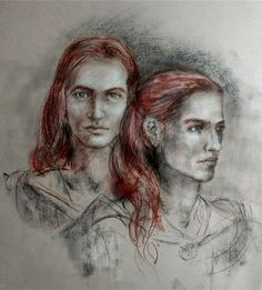 Amrod and Amras, by Ivanneth http://www.ivanneth.com/Twins.html '…and southward [the Fëanorians] rode only to hunt in the greenwoods. But there Amrod and Amras had their abode. and they seldom came northward while the siege lasted; and there also other of the Elf-lords would ride at times. even from afar, for the land was wild but very fair.' - Of Beleriand and its Realms, The Silmarillion.