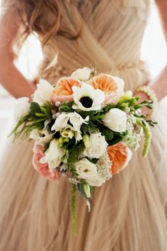 // Anenome and Juliet garden rose bouquet