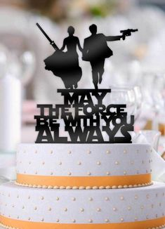 Star Wars Couple May The Force Be With You Always Cake Topper - Hochzeit ♡ - Happy Wedding Star Wars Wedding Cake, Geek Wedding, Wedding Topper, Gamer Wedding Cake, Wedding Ideas, Custom Wedding Cake Toppers, Custom Cake, Star Wedding, Wedding Cake Prices