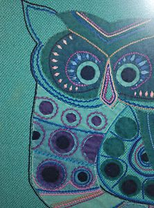 Vintage applique fabric owl picture art craft embroidery.