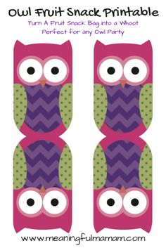 Owl Fruit Snack Printable food for owl party