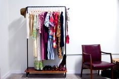 #DIY clothing storage from reclaimed pipes. Photo: Christine Keely/Black Oak Vintage