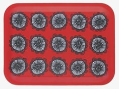 FREDA MULTI-COLOURED Wood Red floral-patterned rectangular tray - HabitatUK