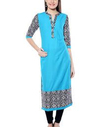 Buy Blue printed  Cotton  kurtas-and-kurtis kurtas-and-kurti online