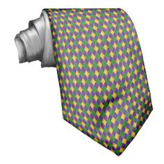 Small Diamond Pattern Mardi Gras Harlequin Necktie mardi gras, tie, necktie, purple, gold, green, custom