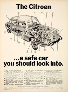 1967 Ad Citroen DS19 European Import 4 Door Sedan Car Technical Schematic YCD5