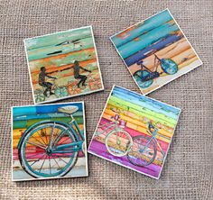 TILE DRINK COASTERS - Set of 4 - Bicycle Bike Biking Cycling beach art home decor coastal summer housewarming hostess realtor gift mothers by dannyphillipsart on Etsy https://www.etsy.com/listing/217961845/tile-drink-coasters-set-of-4-bicycle