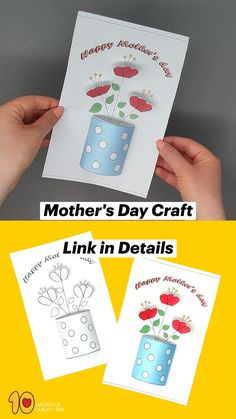 Kids Learning Activities, Craft Activities, Preschool Crafts, Mothers Day Cards Craft, Mothers Day Crafts For Kids, Mother's Day Projects, Easy Arts And Crafts, Art Drawings For Kids, Diy Crafts Hacks