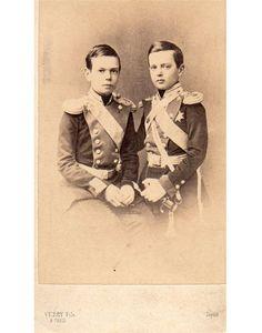 Grand Duke Alexander Alexandrovich (later, Alexander III of Russia) and Grand Duke Vladimir Alexandrovich of Russia, sons of Tsar Alexander II of Russia.