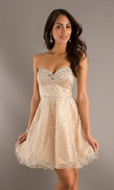Embellished Strapless Dress - Prom Girl