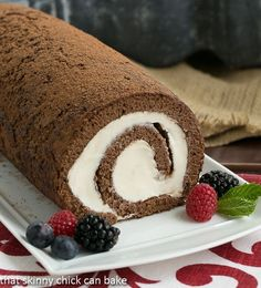 Chocolate Cake Roll with Marshmallow Buttercream | A decadent dessert that's sure to impress!!! @lizzydo