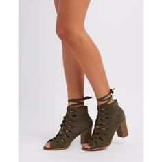 Soda Lace-Up Peep Toe Booties ($37) via Polyvore featuring shoes, boots, ankle booties, khaki, block heel booties, chunky booties, lace up peep toe booties, lace-up ankle booties and lace up cut out booties