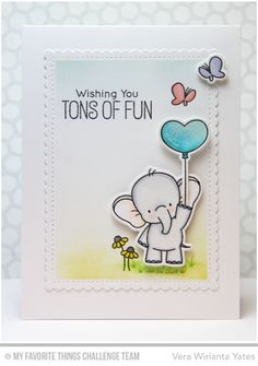 Adorable Elephants, Adorable Elephants Die-namics, Stitched Mini Scallop Rectangle STAX Die-namics - Vera Wirianta Yates #mfstamps