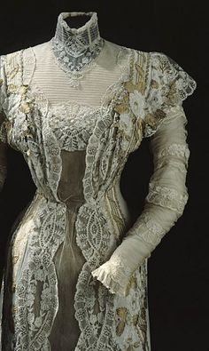 Details of a dress owned by Queen Victoria of Sweden, 1911.