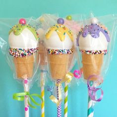 "201 Likes, 4 Comments - MyLittleCakepop (@mylittlecakepopmolds) on Instagram: ""Ice cream cones wrapped up before the cake walk. Did you know you can buy the wrappers on our…"""