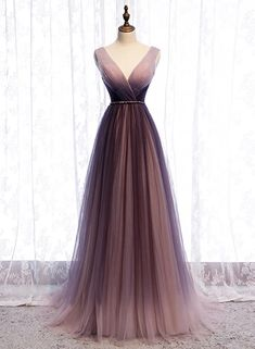 2020 Spring Long V Neck A Line Dress Halter Beaded Evening Dress from Sweetheart Dress Cheap Prom Dresses by SweetheartDress · 2020 Spring Long V Neck A Line Dress Halter Beaded Evening Dress Ombre Prom Dresses, Pretty Prom Dresses, Tulle Prom Dress, Cheap Prom Dresses, Ball Dresses, Cute Dresses, Ball Gowns, Bridesmaid Dresses, Long Party Dresses