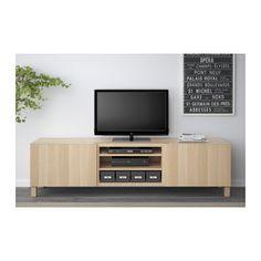 BESTÅ TV장식장+서랍 - 라프비켄 화이트스테인오크 효과, 터치레일 - IKEA