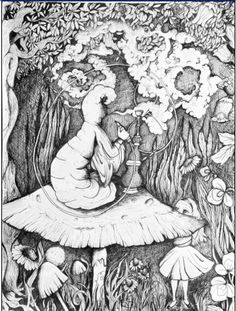 "Trippy Ink drawing print ""Alice in wonderland"""