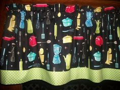 Retro Vintage Kitchen Appliances Baking Green Polka Dot fabric curtain Valance  #Handmade #Traditional