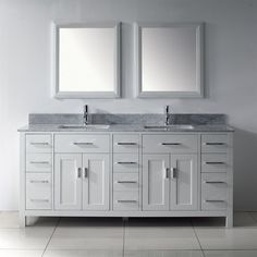 Spa Bathe Kenzie White Undermount Double Sink Bathroom Vanity with Natural Marble Top (Common: 75-in x 22-in; Actual: 75-in x 22-in)