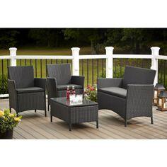 Patio Furniture Sets Clearance Sale Costco Patio Resin Wicker Discount Set Black #Costco