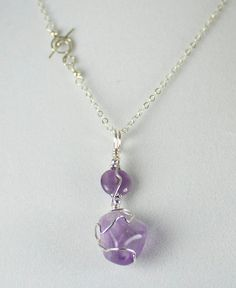 Amethyst and Sterling Silver Necklace, Hand Polished Brazilian Amethyst