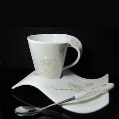 $7.23 Sets of cups of coffee mugs European minimalist creative wave Cup Ceramic Golden Rose sent spoon-ZZKKO