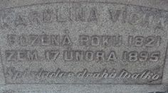 """A photo of the headstone for Karolina Vicha. Credit: Scott Phillips. Read more on the GenealogyBank blog: """"How to Find Ancestors' Graves: Cemetery Research with Newspapers."""" http://blog.genealogybank.com/how-to-find-ancestors-graves-cemetery-research-with-newspapers.html"""