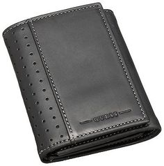 GUESS RODEO BLACK LEATHER TRIFOLD PHOTO HOLDER CASE ID MEN'S WALLET 8124-01