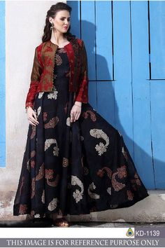 Trendy black chanderi cotton gown with jacket Kurta Designs, Kurti Designs Party Wear, Blouse Designs, Long Gown Dress, Saree Dress, Anarkali Gown, Long Gowns, Anarkali Suits, Designer Gowns