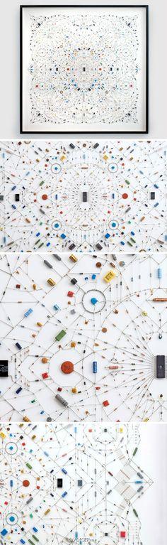 设计|艺术家leonardo ulian用电子元件做成的曼陀罗,微小的细节煞是迷人