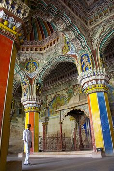 Interior of Thanjavur Maratha Palace in Tanjore, India (by jiminius). #ceiling #colors