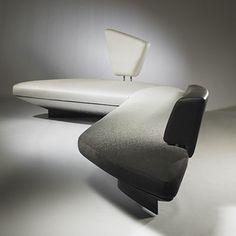 ZAHA HADID    Woosh sofa    Edra  United Kingdom/Italy, c. 1986  upholstery, leather, lacquered fiberglass, enameled and chrome-plated steel, Alcantara  161 w x 33 d x 39 h inches